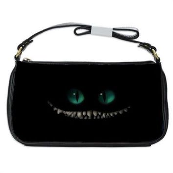 Cheshire Cat Smile And Eyes Handbag Shoulder Bag Black Leather