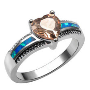 Free shipping fashion brand silver fashion jewelry Blue fire Opal Morganite Topaz wedding Rings Opal jewelry