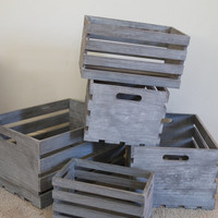 Wood Crates, Collection of Wooden Rustic Boxes, Farm Crates 5, White Washed Storage, Stacking Nesting, FREE US Shipping