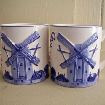 Delft hand painted windmill holland coffee mug cup 010764 blue