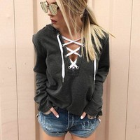 Sexy Long-Sleeved Hooded Sweater