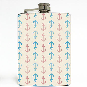 Vintage Nautical Anchor Wallpaper Stainless Steel 8oz Hip Flask