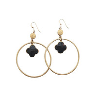 Sirissima | Grover Dangle Hoop Black Earrings