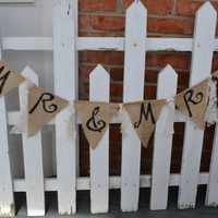 MR and MRS Burlap banner with lace wedding decoration wedding decor mr and mrs sign READY to Ship