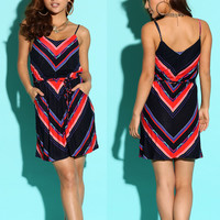 Womens Geometric Striped Cami Dress