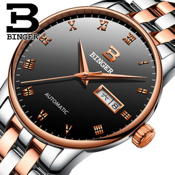 Switzerland luxury brands Rose gold Stainless Steel Strap Simple Leisure Male Table Automatic Mechanical Watches Men Wristwatch