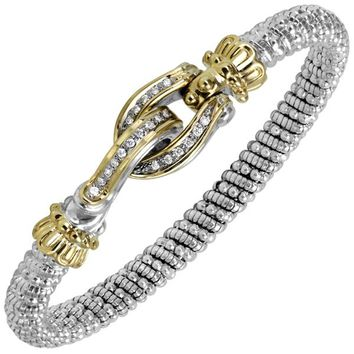 """Vahan Sterling Silver & 14K Yellow Gold Diamond """"Buckle"""" Bangle with Hook Closure"""