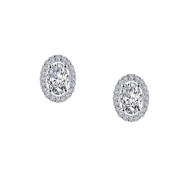 Lafonn Sterling Silver Oval Shaped Halo Simulated Diamond Stud Earrings