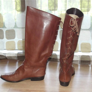 Vintage 80s Boots | 1980s Lace Up Knee Boots | Brown Tall Boots | Renaissance Pirate LARP | Amazonas | Size 6 6.5