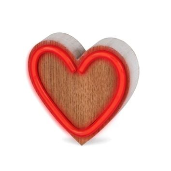 LED Neon Style Lighted Heart Wood Block - Battery Operated