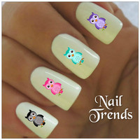 Owl Nail Decal. 20 Vinyl Stickers Nail Art