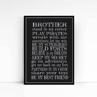 Brothers Typography poster for brothers Family Typography Print Signs Brother art Brother Print Black White Brother Poster Gift For Him