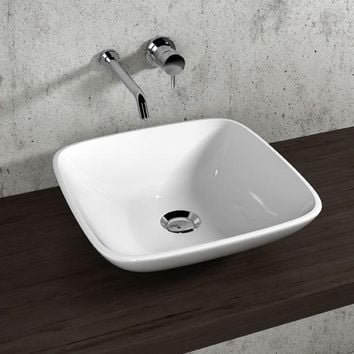 Gio White Square Ceramic Vessel Sink Bowl Above Counter Sink Lavatory Washbasin