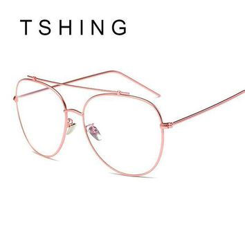 ICIKU7Q TSHING Unisex Fashion Brand Designer New Aviation Metal Glasses Frame Unique Top Clear Lens Frames Feamle Optical Glasses