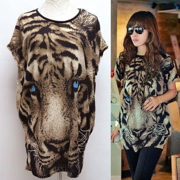 Summer Fashion Women's T-shirt Batwing-sleeve Tiger Animal Print T-shirt Blouse Short Sleeves DY-61 (Size: M, Color: Leopard) = 1945838532