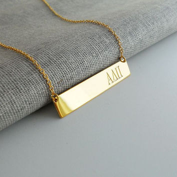 Sorority Bar Necklace,Sorority Necklace, Sorority Greek Necklace,Gold Greek Sorority Initial Necklace,Sorority Gifts, Fraternity Charm