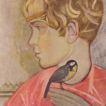 "F. Krichevsky ""Boy with Bird"" Print, Postcard -- 1966"