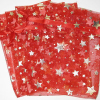 Set of 20 Gold Stars on Red Printed Organza Bags (3-1/2 x 5)