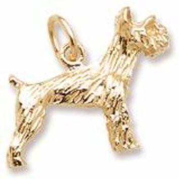 Schnauzer Dog Charm in Yellow Gold Plated