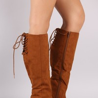 Bamboo Suede Back Lace Up Block Heeled Knee High Boots