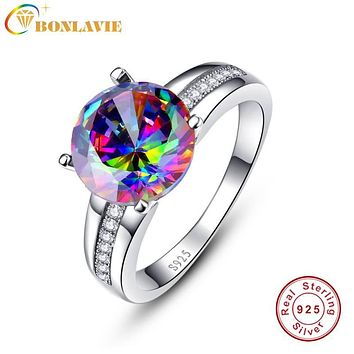 BONLAVIE Brand Jewelry 6.3Ct Striking Rainbow Fire Mystic Topaz Ring For Lady Birthday Gift 925 Sterling Silver Size 6 7 8 9