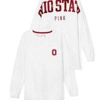 Victoria's Secret PINK Ohio State University Bling Varsity Crew Small White