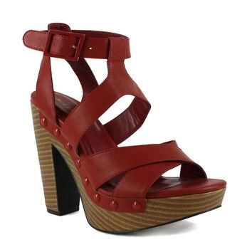 Womens Stacked Heel Platform Sandals Red