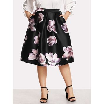 Womens Box Pleated Floral Volume Skirt - Plus Size