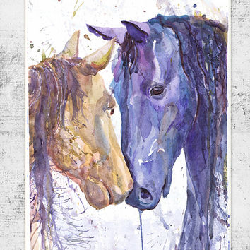 Two horses  watercolor painting print ,  wall decor, animal art,  poetry in motion, room decor , Illustration