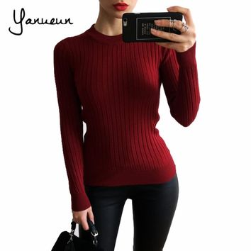Yanueun Fashion Women Sweaters And Pullovers Female Solid Wool Pullover Knitted Casual Oversized Pull Femme Sweater
