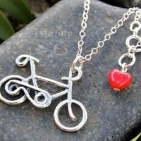 Bicycle charm necklace- sterling silver charm and chain - bike riders