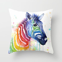 Zebra Rainbow Watercolor Throw Pillow by Olechka