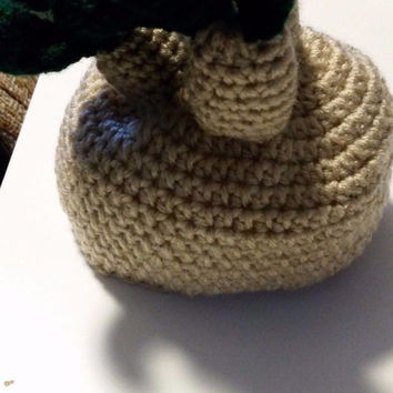 hand crochet, baby hat, 3-6 months, harry potter, mandrake , Hand-Crafted