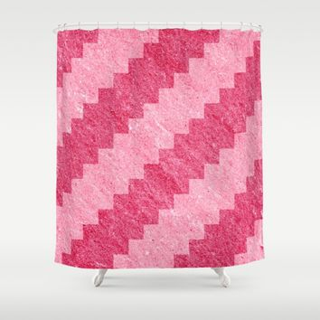 Pixel Pattern Pink Stripe Shower Curtain by Likelikes | Society6
