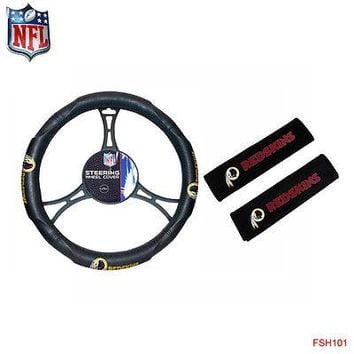 Licensed Official NFL Washington Redskins Car Truck Steering Wheel Cover and Seat Belt Pad Cover
