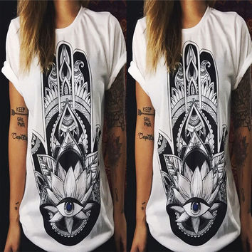 Summer Women's Fashion Black Short Sleeve Tops T-shirts [6343459969]
