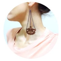 Brown Lace Earrings, Statement Long Chain and Lace Earring, Fashion earrings, Gothic Accessories, Victorian Applique