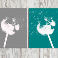 Dandelion wall decor print Teal and Gray home decor Digital Dandelion bedroom printable poster Abstract flower art Set of 2 Gift Download