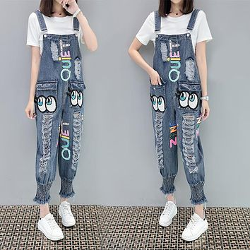 Women Loose Casual Fashion Ripped Sequin Eyes Letter Back Strap Jeans Trousers Romper Jumpsuit Slim-fit Pants