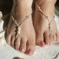 White Barefoot Sandals, Flower Sandles, Slave Anklet, Nude Shoes, Bridal sandals, Beach Weddings