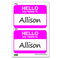 Allison Hello My Name Is - Sheet of 2 Stickers