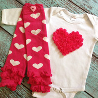 Chiffon Rosette heart Onesuit and leg warmers, tshirt, Mother's Day, Valentine's Day, Bring coming home, new baby, photo prop