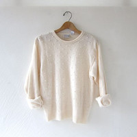 90s cream spring sweater covered with faux pearls