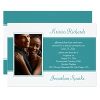 Teal Green Photo Garden Reception Wedding Card