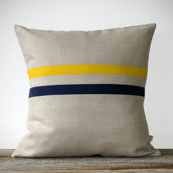 Mustard Yellow and Navy Striped Pillow - 16x16 - Modern Home Decor by JillianReneDecor - Colorful Colorblock Stripes (More Colors)