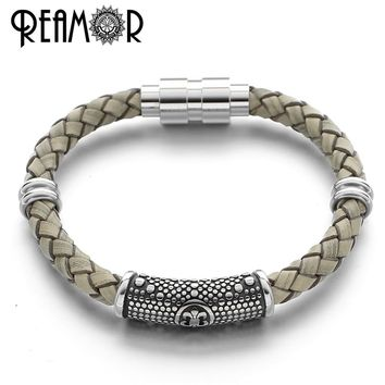 REAMOR Iris Flower Braided Leather Male Bracelet Stainless Steel Fleur De Lis Charms Bracelet with Magnetic Clasp Trendy Jewelry