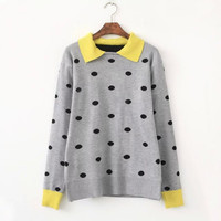 Polka Dot Pointed Flat Collar Long Sleeve Sweater