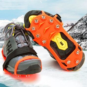 10 Teeth Sports Anti-Slip Ice Crampon Cleats Shoe Boot Grips Crampons Spike Snow Board  for Skiing Hiking Climbing Ice Crampons