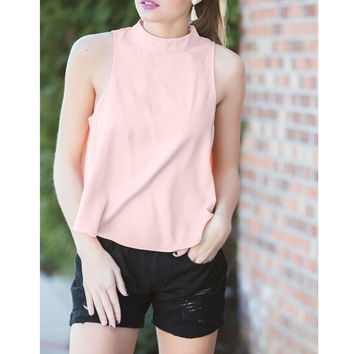 Pink Sleeveless Backless Blouse
