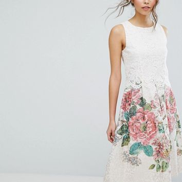 Oasis Royal Worcester Lace Top Floral Jacquard Midi Dress at asos.com